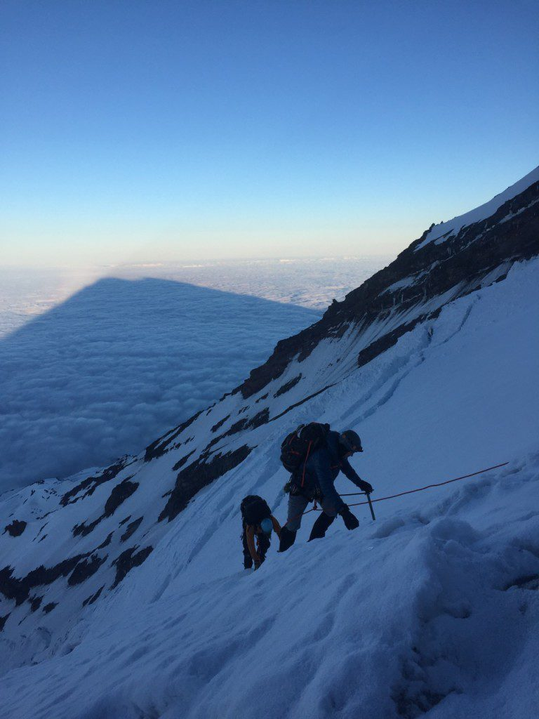 Sunrise during summit day as we climb up the mountain