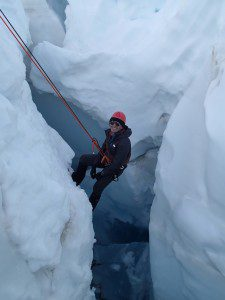 Hanging out in a crevasse during rescue training