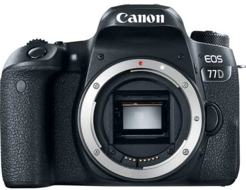 Canon EOS 77D pictured with no lens, camera body only