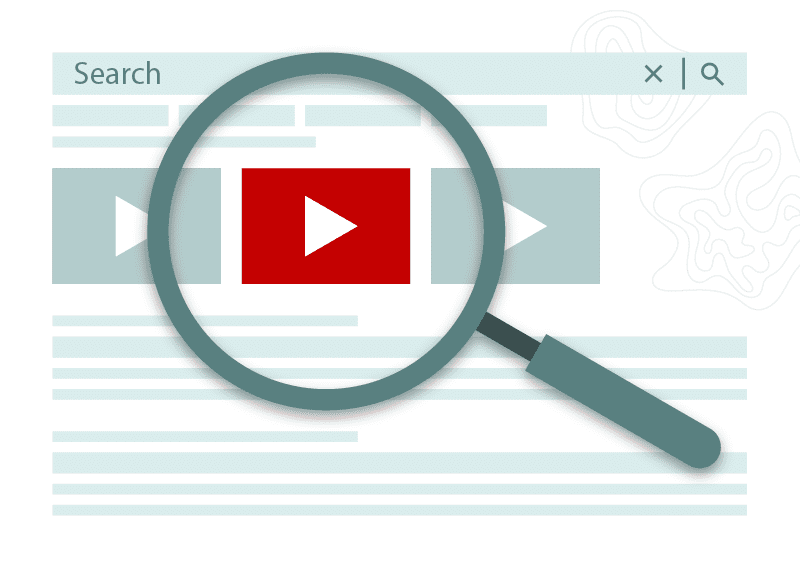 Magnifying glass identifies video icons in a search page