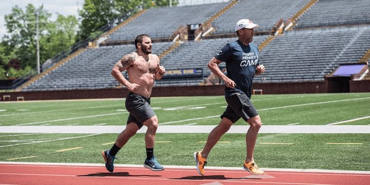 Chris Hinshaw and Mat Fraser running on a track