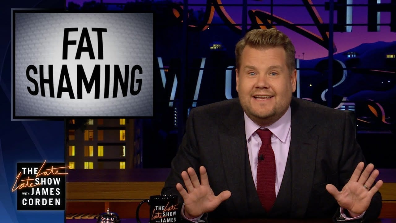 James Corden still from his fat shaming monologue
