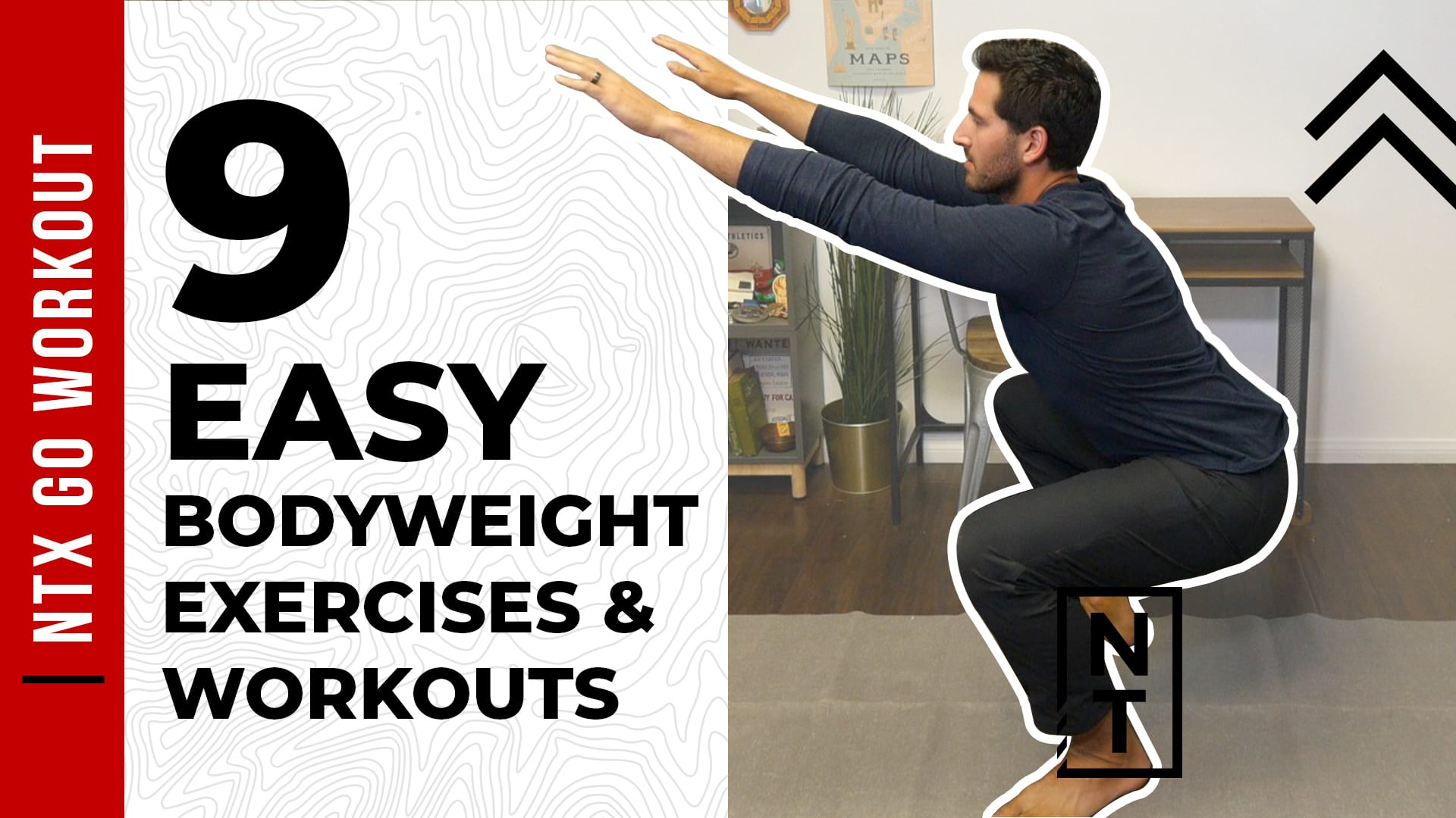 Doing a squat to show off some easy home bodyweight exercises